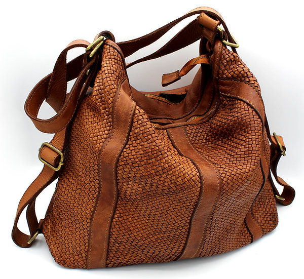 Shoulder bag convertible into backpack Real Leather woven leather bag