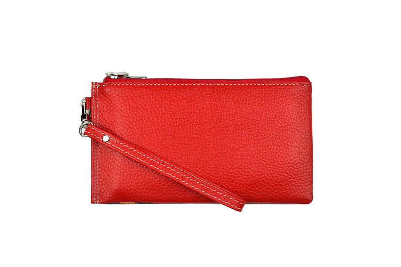 Leather card wallet double zip