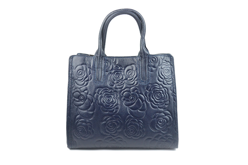 LEATHER HANDBAG HOT FLOWER BLUE