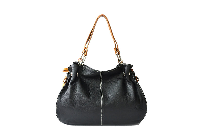 leather bag black with brown