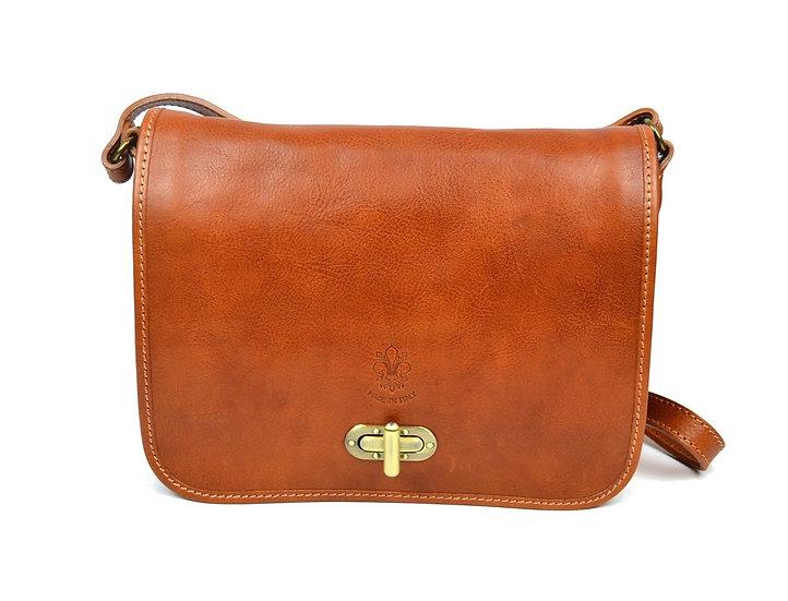 Genuine Leather bag long strap Cognac