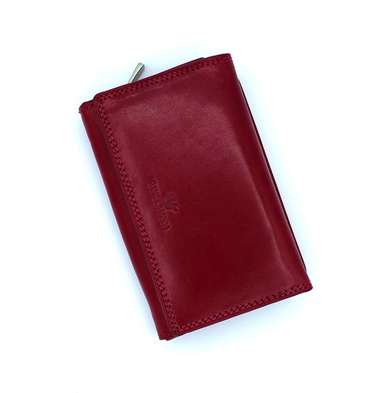 Leather wallet 3 folding cowhide