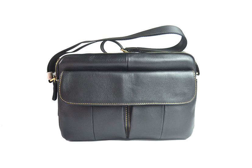 leather cross body bag slim bag double zipper