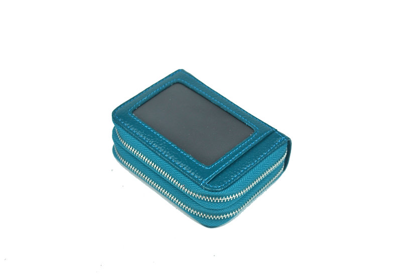 Accordion card holder coin leather wallet, turquoise