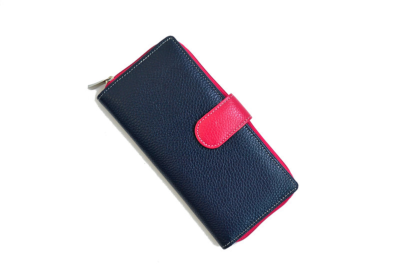 WOMEN LEATHER WALLET blue with fuchsia