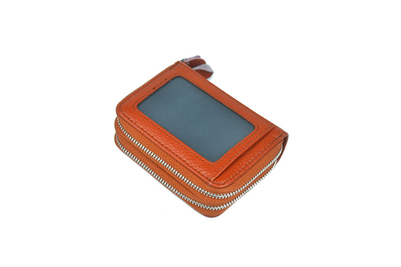 Accordion card holder coin leather wallet, orange
