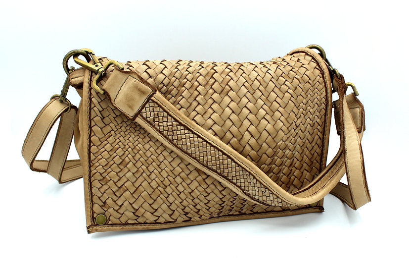 Women's Leather shoulder bag and crossbody bag small size Woven Leather Amica