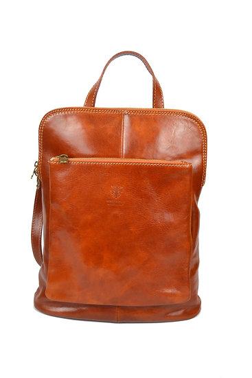 Genuine Leather Backpack Cognac
