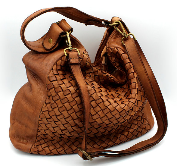 Woven Leather bag women shoulder bag Handmade Italy Piazza Duomo Weave Leather