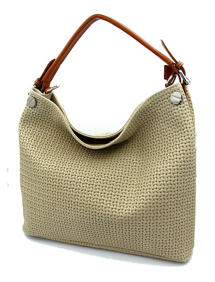 Hot stamped leather weave sack bag