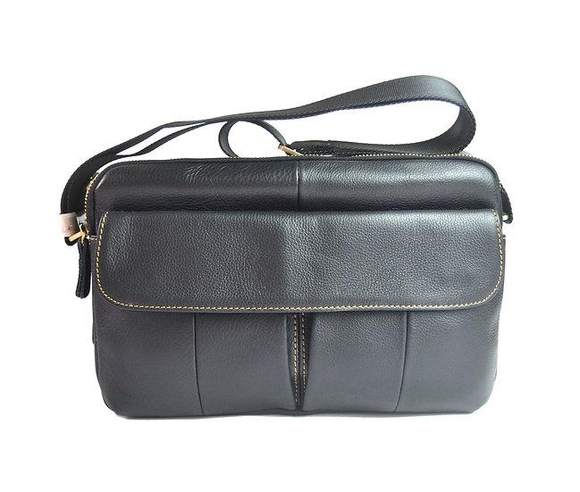 leather cross body bag slim bag double zipper