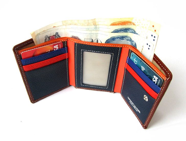 Three folding leather wallet coin pocket