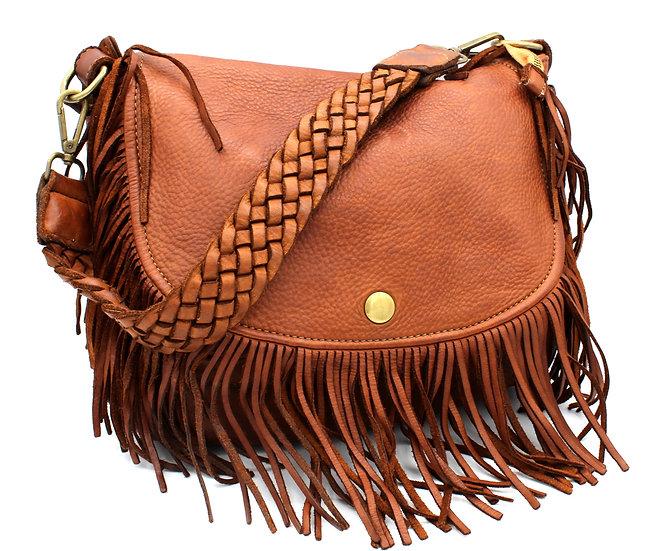 Leather bag Leather Handbag woven leather shoulder fringes soft bag