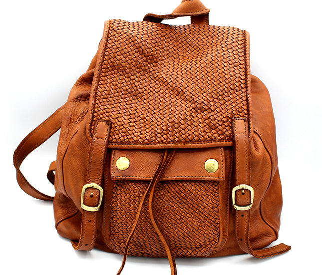 Women Leather Backpack soft washed Leather Woven Leather backpack