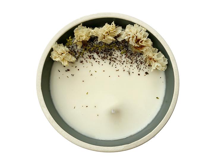 EDITION LIMITEE - Bougie artisanale fleurs séchées blanc - rond