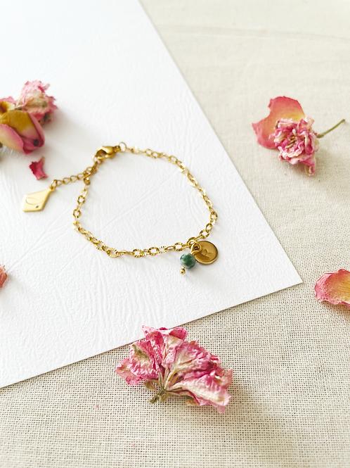 Bracelet médaillon 8mm + perle