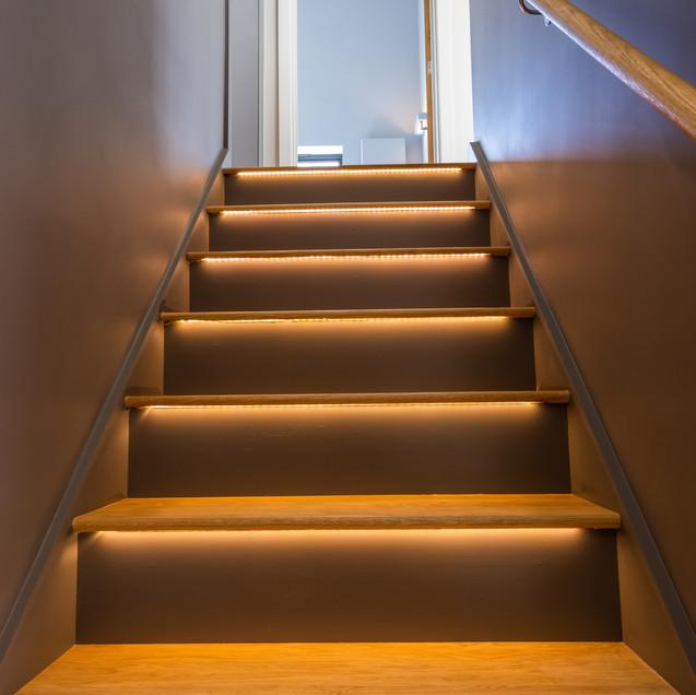 Lit Stairway.