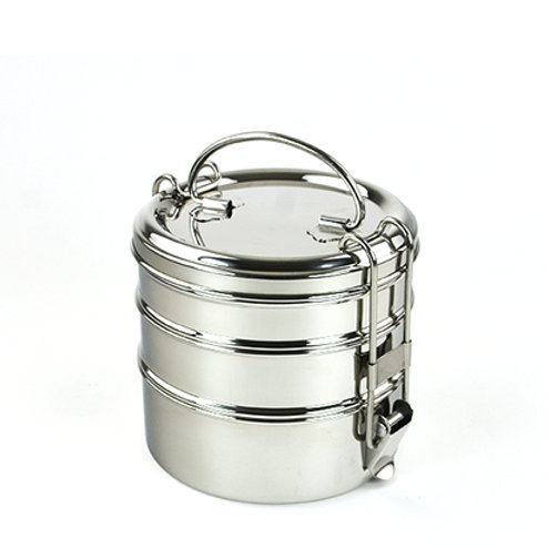 Tiffin rond 3 étages inox