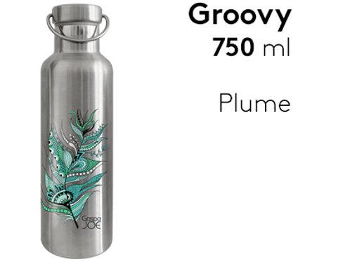 Gourde inox isotherme Groovy 750 ml - Plume