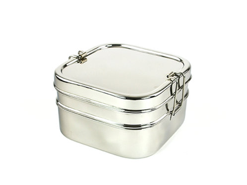 Tiffin carré XL 2 étages inox
