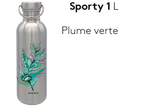 Gourde inox simple paroi Sporty 1L - Plume verte