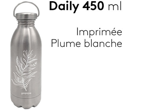 Gourde inox simple paroi Daily 450 ml - Plume blanche