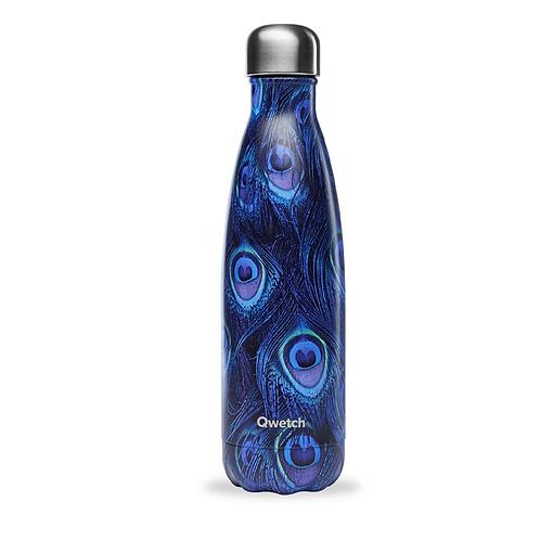 Bouteille isotherme en inox 500 ml PLUMES DE PAON bleu - Qwetch