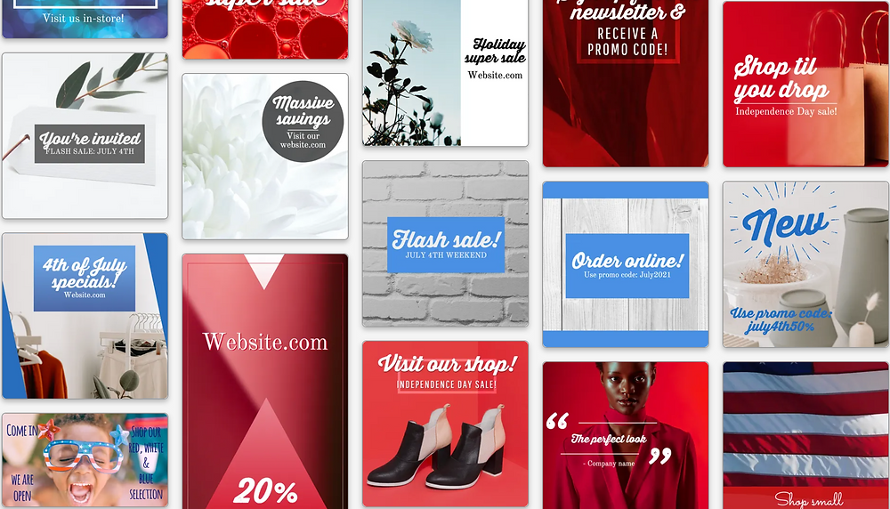 4th of july sale social media templates