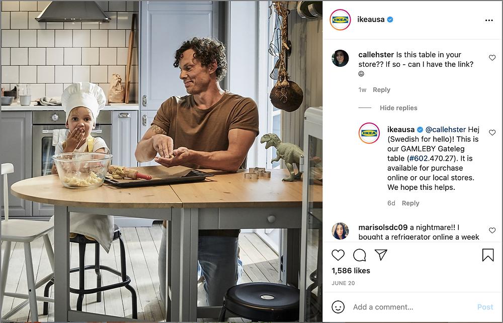 Ikea Instagram example post