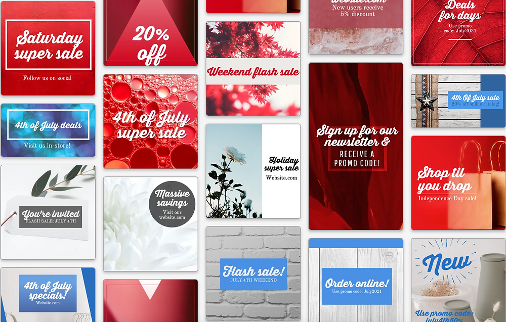 Red white and blue social media templates
