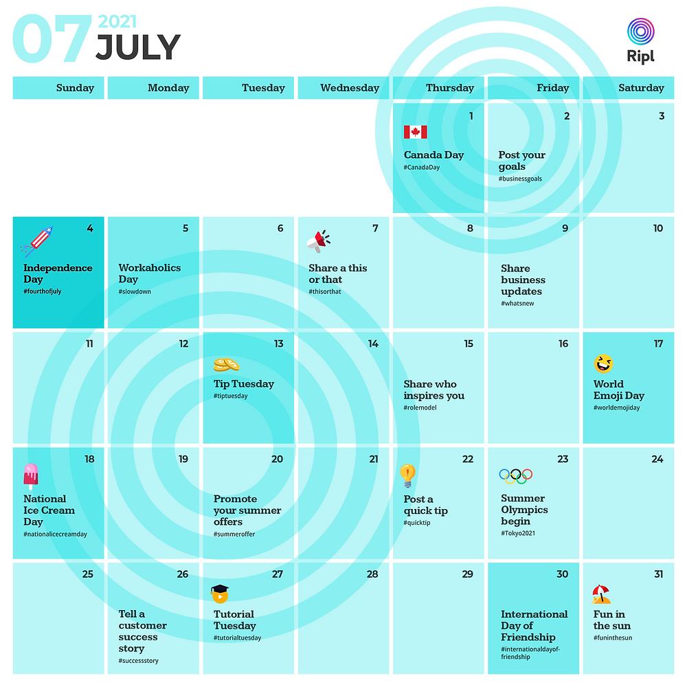 July 2021 social media content calendar