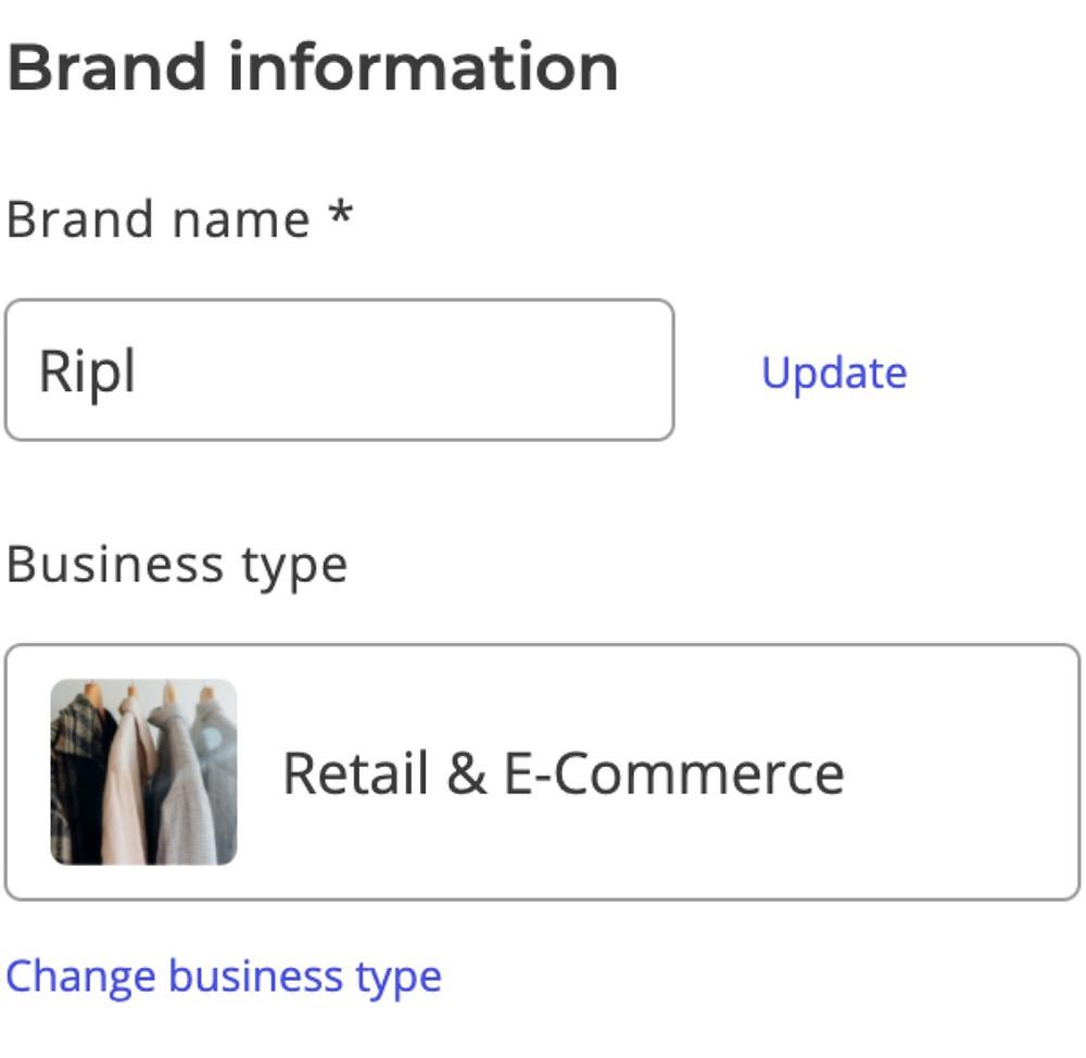 Brand information in Ripl