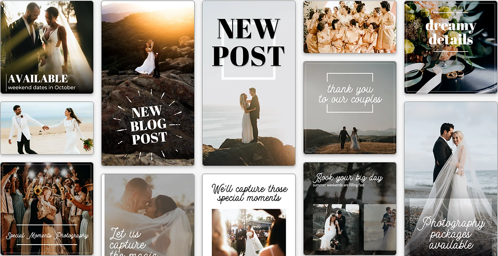 Wedding photography social media post templates