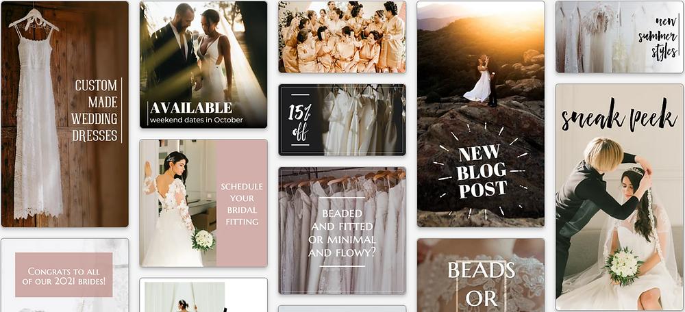 wedding dress social media post templates