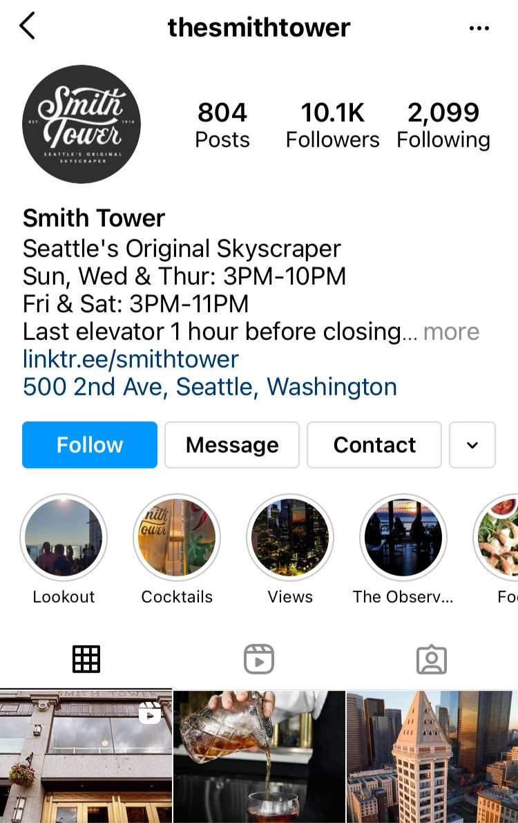 The Smith Tower Instagram profile showing their updated hours