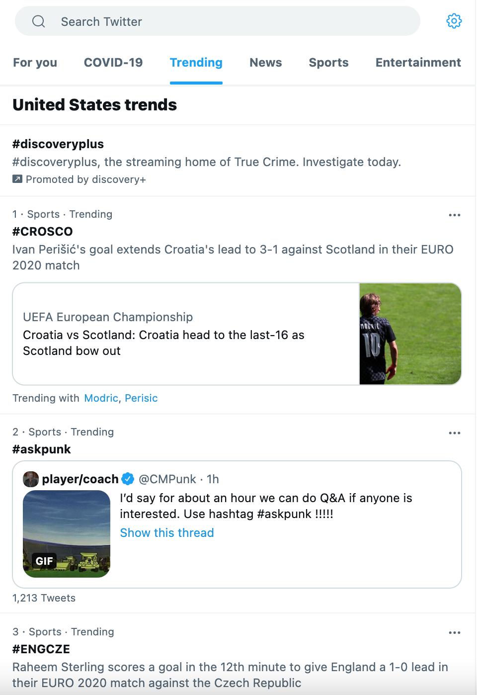Twitter's trending topics page