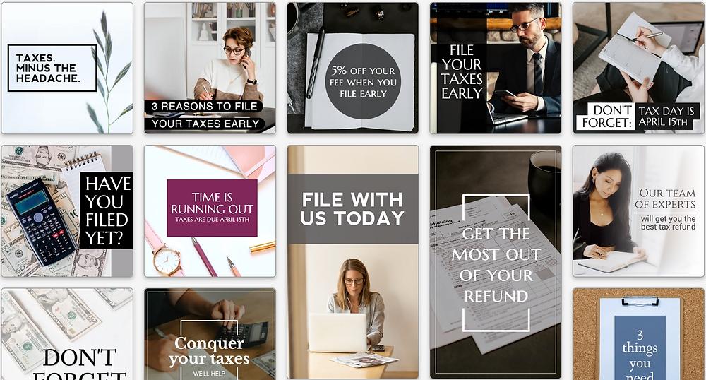Tax day social media templates