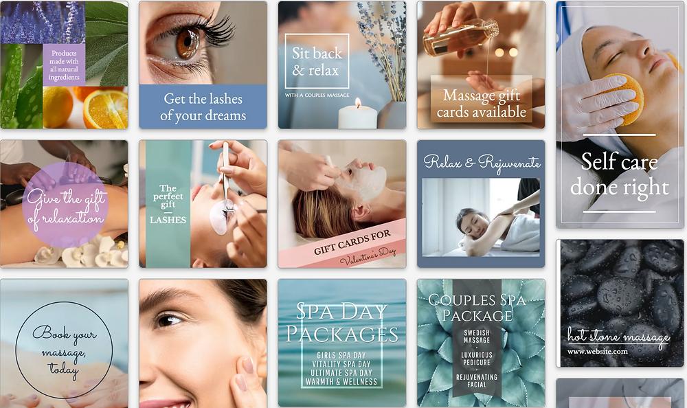 spa days social media templates