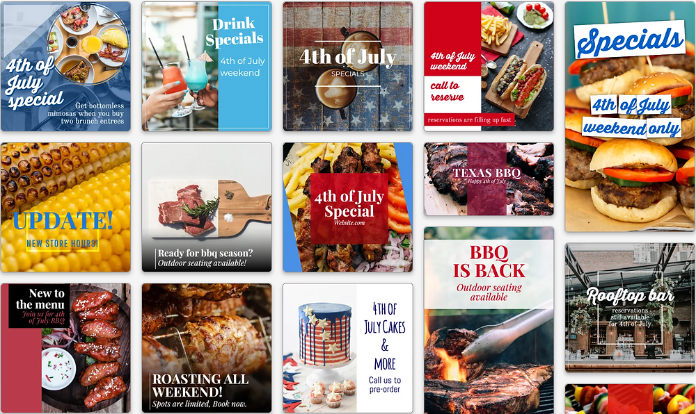 Red white and blue food and beverage social media templates