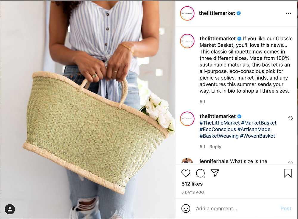 The Little Market Instagram example post