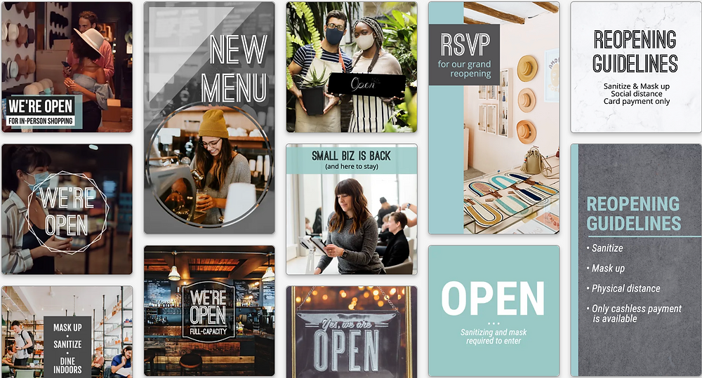 Small business reopening social media templates
