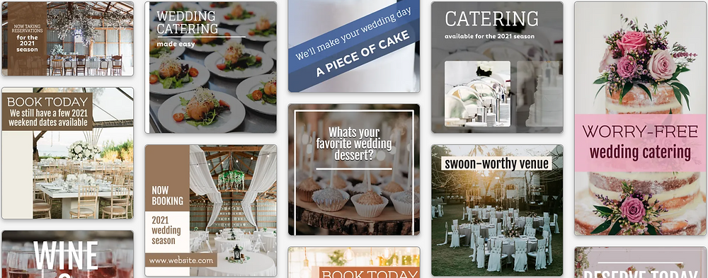 Wedding venues and catering social media post templates