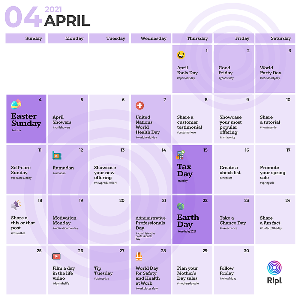 April social media holiday content calendar