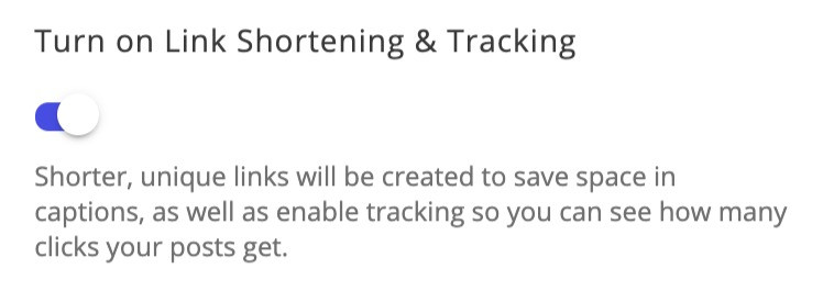 Turn on link shortening and tracking