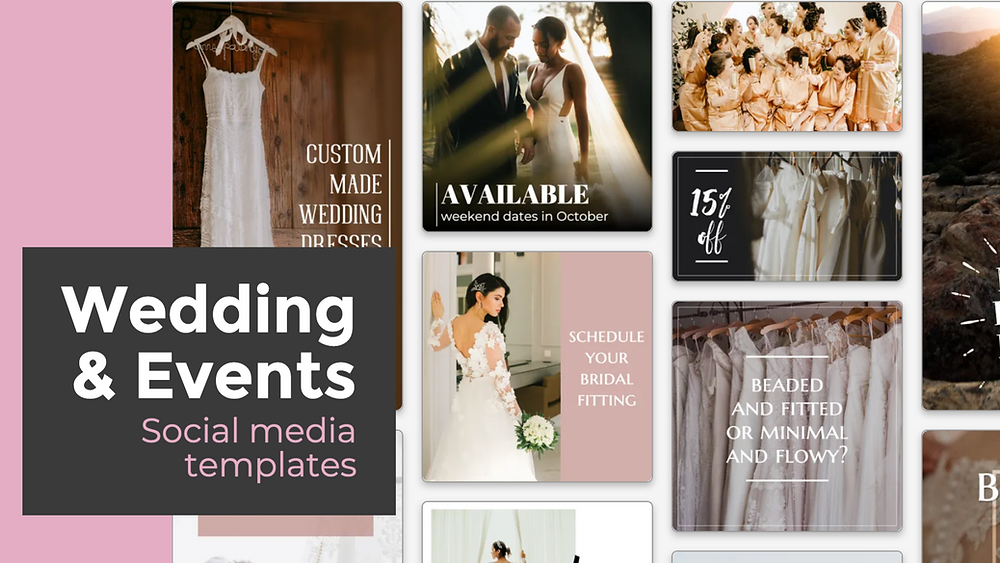 Wedding and events social media post templates