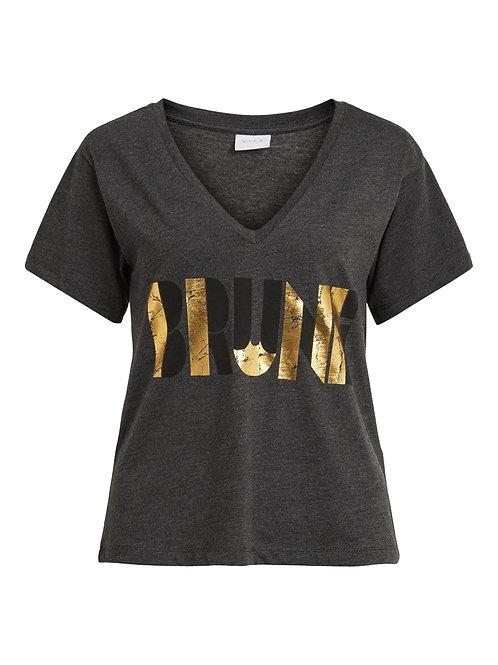 T-shirt col V Imprimé métallisé