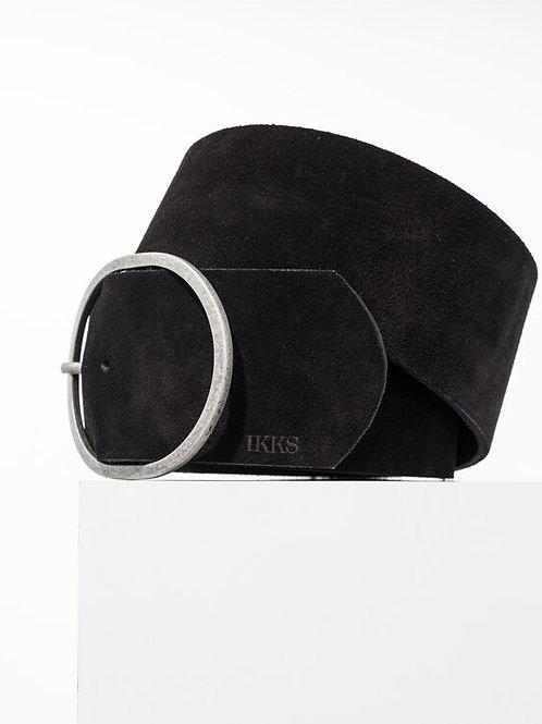 Ceinture large en cuir noir suédé - IKKS