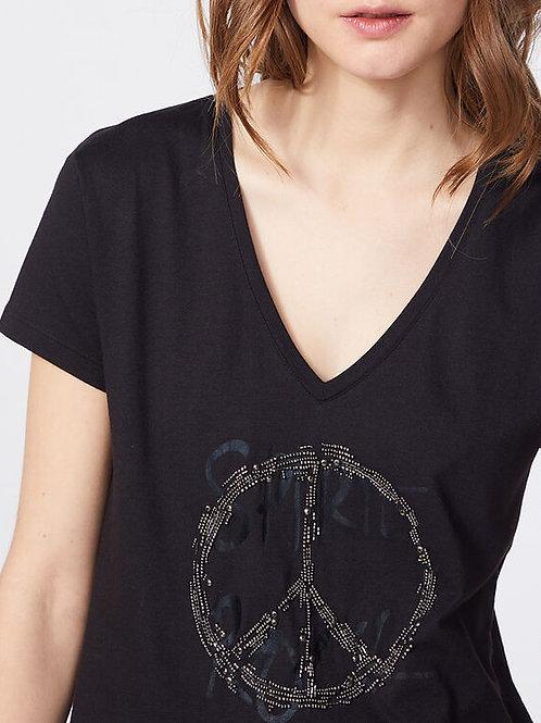 Tee-shirt en coton modal noir visuel bijoux - IKKS