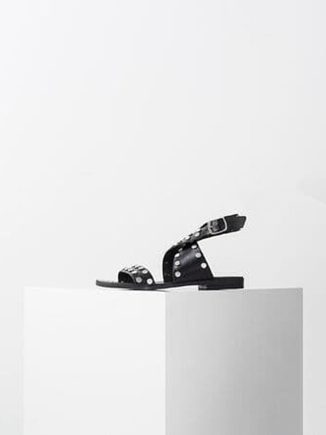 Sandales plates en cuir noir - IKKS