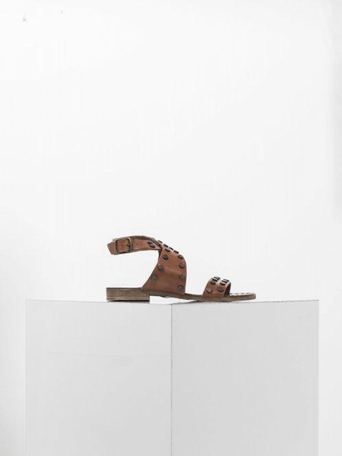Sandales plates en cuir détails cloutés - IKKS